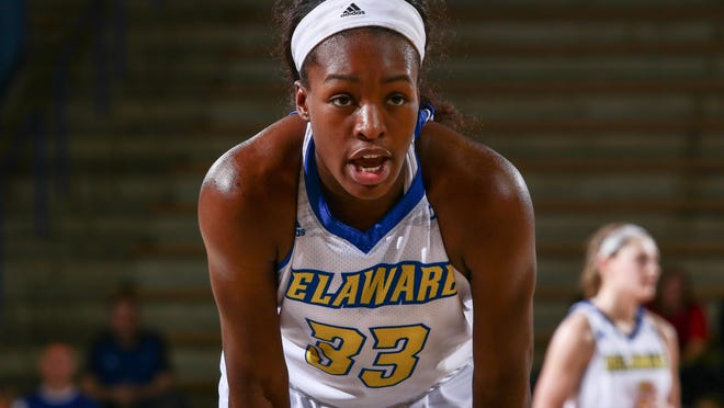 Delaware forward Nicole Enabosi waits to take a free throw in the first half of a game against Drexel.