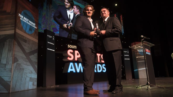 Riverdale wrestler Cole Schneider, left, was named the wrestler of the year and overall male athlete of the year at the Southwest Florida Sports Awards on Wednesday.