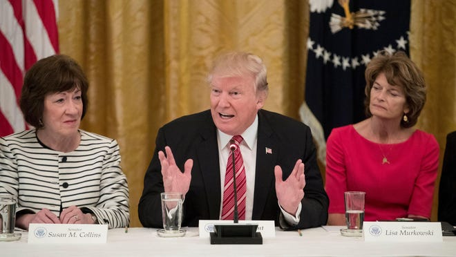 Michael Reynolds, European Pressphoto AgencyPresident Trump meets with Sens. Susan Collins, R-Maine, and Lisa Murkowski, R-Alaska, to discuss health care on June 27. President Trump delivers remarks alongside Sens. Susan Collins and Lisa Murkowski during a meeting with Senate Republicans to discuss health care legislation at the White House on June 27, 2017.