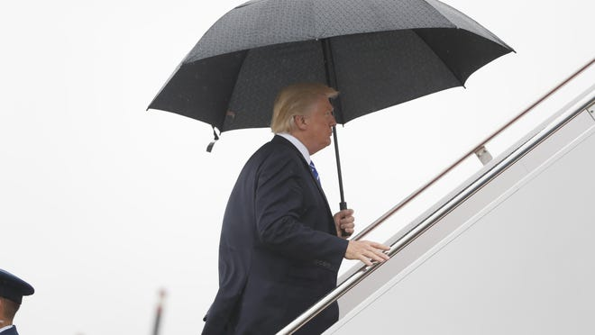 President Donald Trump boards Air Force One at Andrews Air Force Base, Md., Wednesday, Sept. 6, 2017. Trump is traveling to North Dakota to promote his tax overhaul pitch. (AP Photo/Pablo Martinez Monsivais)