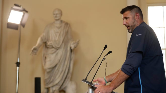 Tennessee Titans' head coach Mike Vrabel gives a press conference at Syon House, in Syon Park, southwest London, on Friday. The Titans are preparing for their first international game against the Los Angeles Chargers on Sunday.