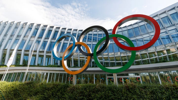 The new headquarters building of the International Olympic Committee (IOC), in Lausanne, Switzerland, Tuesday, June 18, 2019.  The inauguration of the Olympic House will take place on June 23, during the celebration of Olympic Day. (Cyril Zingaro/Keystone via AP)