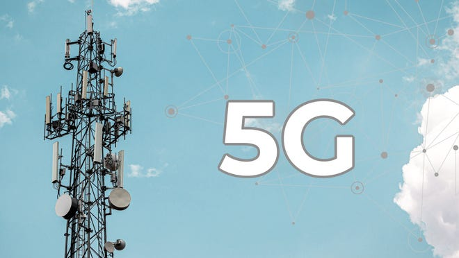 Image of cell tower with 5G next to it