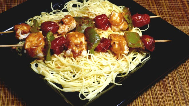 Thai Chicken Kabobs with Noodles.