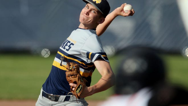 Notre Dame High School's Mitchell Brent delivers a pitch during their game against Mediapolis High School June 25, 2019 at Notre Dame's Winegard Field. The season opens June 15 when the Nikes host West Burlington.