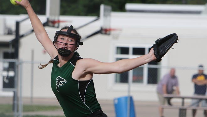 West Burlington-Notre Dame's Lauren Summers (6) delivers a pitch during their game against Fort Madison's Holy Trinity Catholic High School, Tuesday June 30, 2020 at West Burlington's Barb Carter Field.