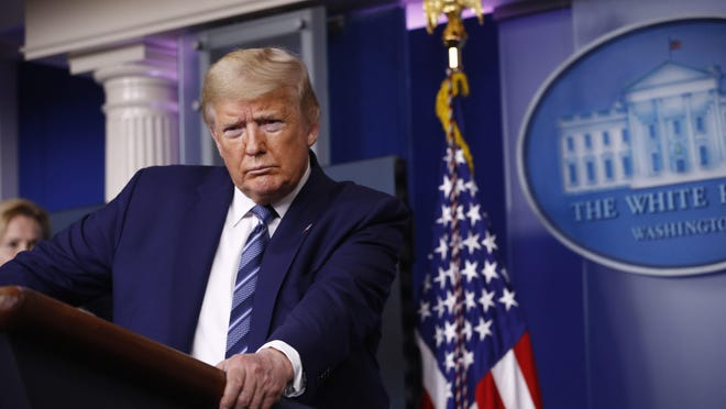 President Donald Trump speaks during a coronavirus task force briefing at the White House, Sunday, April 5, 2020, in Washington.