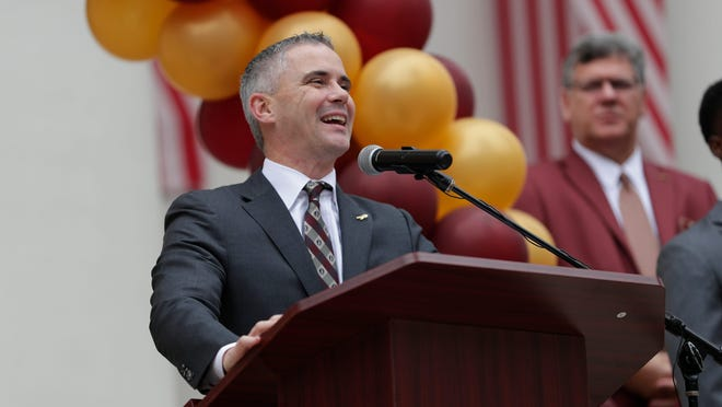 In this Feb. 12 photo, Florida State football coach Mike Norvell speaks during FSU Day at the Capitol. Norvell and the Seminoles resumed team activities Monday with voluntary on-campus workouts.