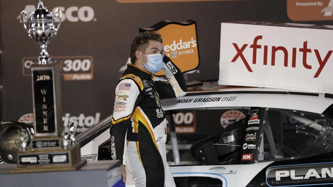 Noah Gragson celebrates in victory lane after winning the Xfinity Series Cheddar's 300 at Bristol Motor Speedway on Monday in Bristol, Tenn.