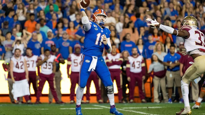 Florida quarterback Kyle Trask (11) passes against Florida State at Ben Hill Griffin Stadium in Gainesville on Saturday, Nov. 9, 2019.