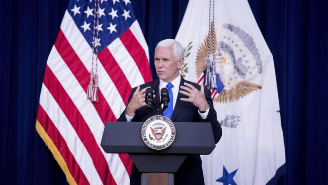 Vice President Mike Pence speaks at a naturalization ceremony to celebrate 16 new Americans at the Eisenhower Executive Office Building on the White House complex, Thursday, July 2, 2020, in Washington.