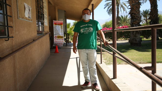 Torres Martinez tribal Vice Chairman Joseph Mirelez stands  in front of the tribal health clinic on Tuesday, July 7, 2020 in Thermal, Calif.