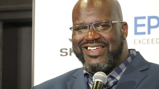 Former basketball pro Shaquille O'Neal at a Los Angeles press conferenceRx103028
