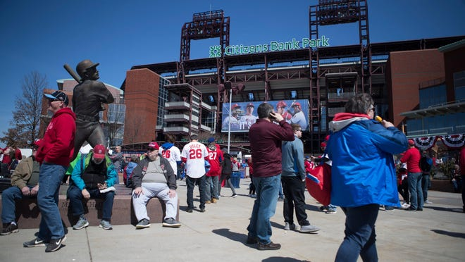 Phillies fans enjoy pregame festivities before the Phillies take on the Atlanta Braves on opening day at Citizen Bank Park.