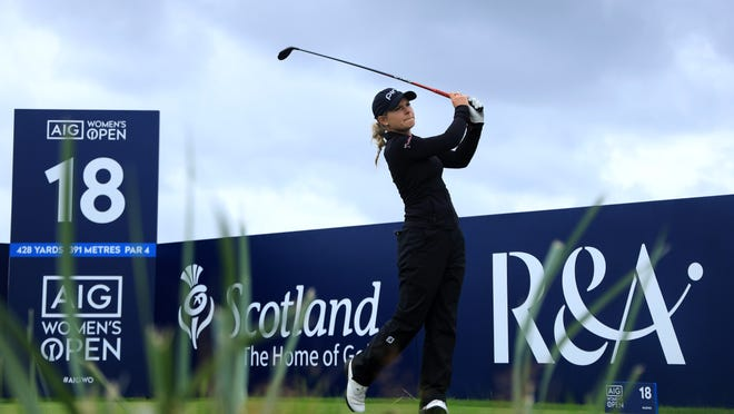 TROON, SCOTLAND - AUGUST 21: Lindsey Weaver of USA tees off from the 18th during day two of the 2020 AIG Women's Open at Royal Troon on August 21, 2020 in Troon, Scotland. (Photo by R&A - Handout/R&A via Getty Images)