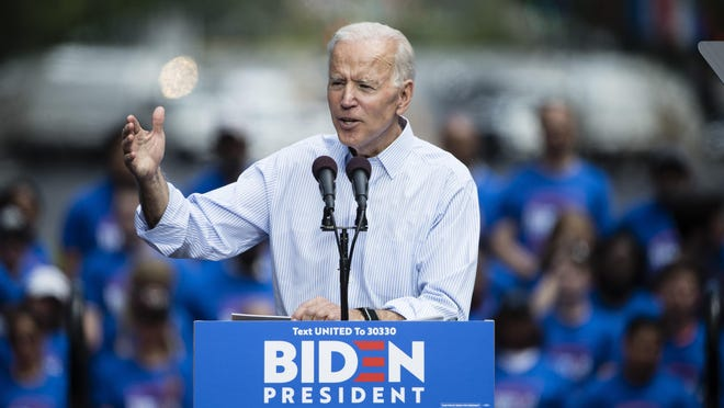 In this May 18, 2019, file photo, Democratic presidential candidate, former Vice President Joe Biden, speaks during a campaign rally at Eakins Oval in Philadelphia. The 2020 presidential election campaign got underway as former vice president, and Scranton native, Biden launched his candidacy in Philadelphia.