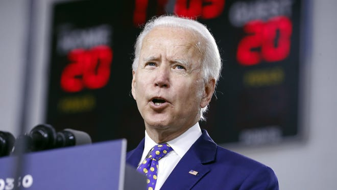 Democratic presidential candidate former Vice President Joe Biden speaks at a campaign event in Wilmington, Del.,on Tuesday, July 28.