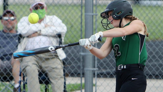 West Burlington-Notre Dame's Reagan Engberg (22) at bat during their game against Fort Madison's Holy Trinity Catholic High School, Tuesday June 30, 2020 at West Burlington's Barb Carter Field.