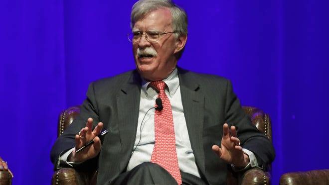 "Former national security adviser John Bolton in a February appearance at Vanderbilt University in Nashville. The White House is seeking to block the release of Bolton's book ""The Room Where It Happened: A White House Memoir."""