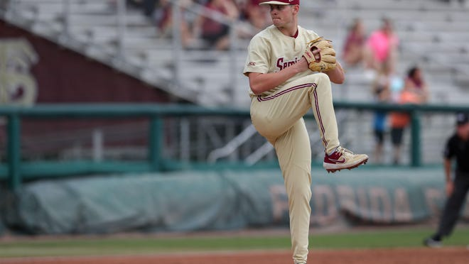 Florida State University Shane Drohan (5) throws a pitch during a game between FSU and Mercer University at Dick Howser Stadium Sunday, March 3, 2019. Fsu Baseball Vs Mercer.
