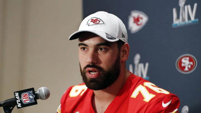 Kansas City Chiefs offensive guard Laurent Duvernay-Tardif speaks during a news conference Jan. 29 in Aventura, Fla.