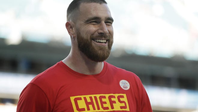 Kansas City Chiefs' Travis Kelce smiles before Super Bowl 54 against the San Francisco 49ers on Feb. 2 in Miami Gardens, Fla.