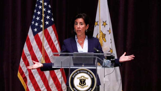R.I. Gov. Gina Raimondo gives details of the phase 3 openings on Monday afternoon during her coronavirus update at the Veteran's Auditorium.