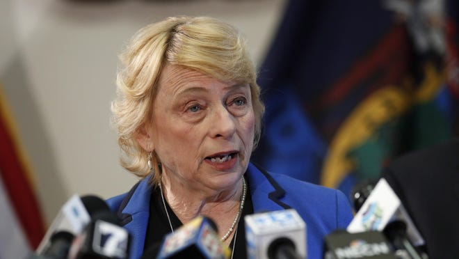 Gov. Janet Mills speaks during a news conference at the Statehouse on March 12, 2020, in Augusta, Maine.