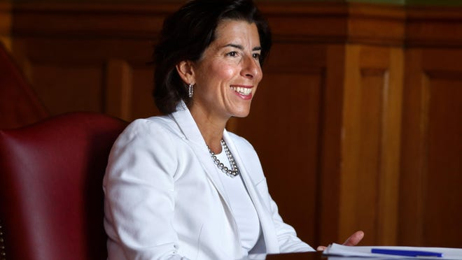 Gov. Gina Raimondo speaks to Providence Journal reporters on Thursday afternoon.