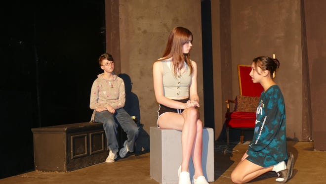 From right to left: Asia Thompson; Jade Anspech and Elizabeth Wright rehearsing a scene from the Impossible Players' Next Gen Players' production 'Letters from Quarantine.'
