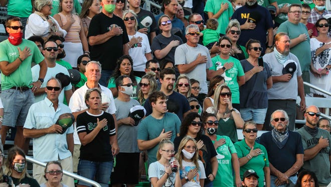 Many spectators at games across the state last Friday, such as this one in Burnet, disregarded UIL policies that requires masks and social distancing at fall sporting events.