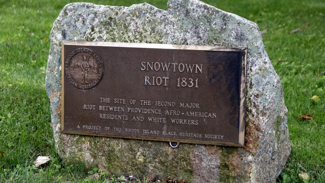 A plaque at Roger Williams Memorial Park in Providence commemorates the Snowtown Riot of 1831.