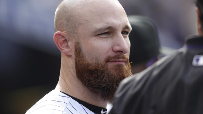 Jonathan Lucroy, shown here in 2017 with the Rockies, was designated for assignment by the Red Sox on Wednesday.