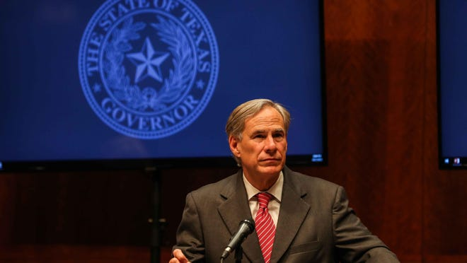 Governor Greg Abbott is shown at a press conference at the state Capitol providing an update on the state's response to COVID-19 on April 21.