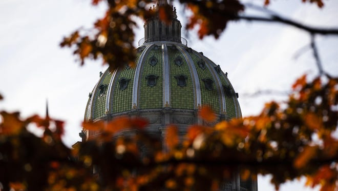 FILE- In this file photo from Nov. 19, 2019, the dome of the Pennsylvania Capitol is visible through the trees in Harrisburg, Pa. There are 203 House seats and 25 of 50 Senate seats up for election on Nov. 3, when voters will decide whether to extend gains Democrats made two years ago or tighten the majority hold Republicans have long held over both chambers of the Pennsylvania Legislature.