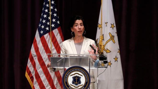 Gov. Gina Raimondo gives the daily coronavirus briefing at Veterans Memorial Auditorium.