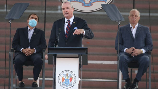 Governor Phil Murphy addresses members of the New Jersey Legislature in SHI Stadium at Rutgers University in Piscataway on August 25, 2020, where he announced his budget.