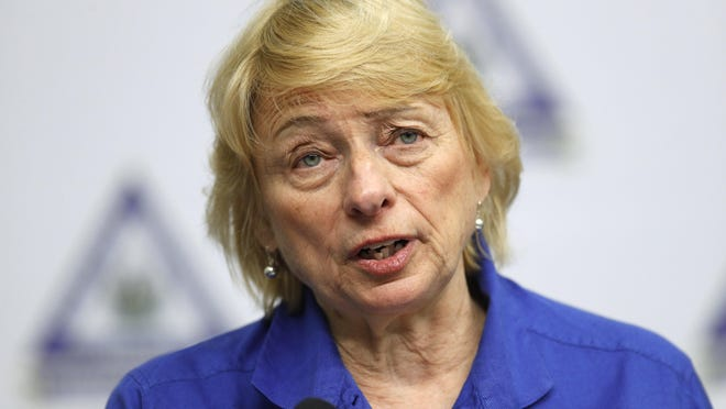 Maine Gov. Janet Mills speaks at a news conference Tuesday, April 28, 2020, in Augusta, Maine.