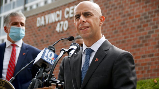 Providence, RI, Sept 17, 2020 - Mayor Jorge Elorza, along with Providence and Central Falls city leaders and representatives from the police departments, discuss the details of a gun buyback program during an afternoon  press conference at the DaVinci Center in Providence on Thursday.