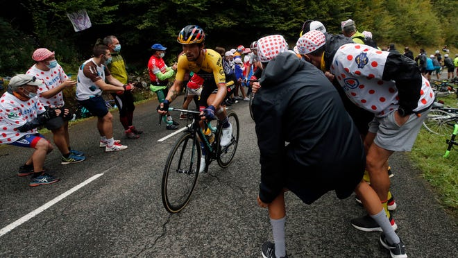 Primoz Roglic climbs the Marie Blanque pass during the ninth stage of the Tour de France.