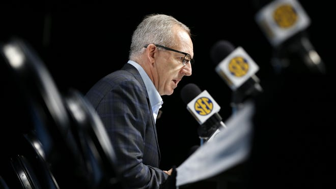 "SEC commissioner Greg Sankey says a new partnership with Kinexon in regards to COVID-19 ""provides the SEC with a modern and effective solution to meet the unique contact tracing challenges associated with football."""