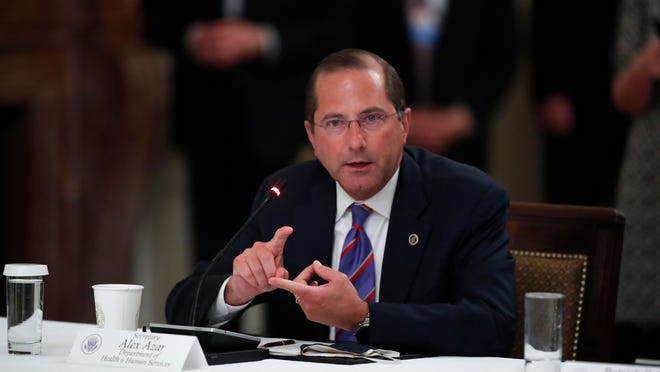 "Health and Human Services Secretary Alex Azar speaks during a ""National Dialogue on Safely Reopening America's Schools,"" event in the East Room of the White House, Tuesday, July 7, 2020, in Washington."