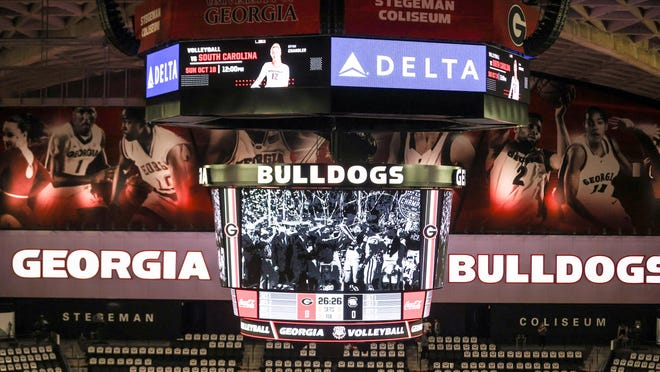 During a volleyball match between the University of Georgia and the University of South Carolina at Stegeman Coliseum in Athens, Ga., on Saturday, October 17, 2020.