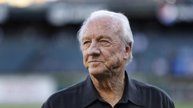 In this Sept. 12, 2016 file photo, Al Kaline, Hall of Famer and Detroit Tigers Special Assistant to the General Manager watches before a baseball game in Detroit.