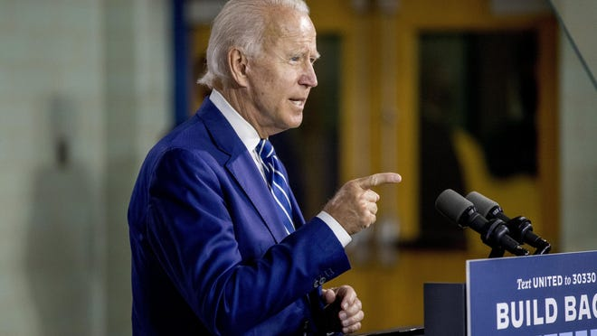 Democratic presidential candidate former Vice President Joe Biden speaks at a campaign event at the Colonial Early Education Program at the Colwyck Training Center, Tuesday, July 21, 2020 in New Castle, Del.