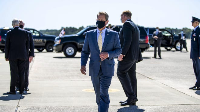 09/30/2020 - Marietta, Georgia - Georgia Gov. Brian Kemp after greeting Vice President Mike Pence as he arrived on Air Force Two at Dobbins Air Reserve Base in Marietta, Georgia, Wednesday, September 30, 2020.