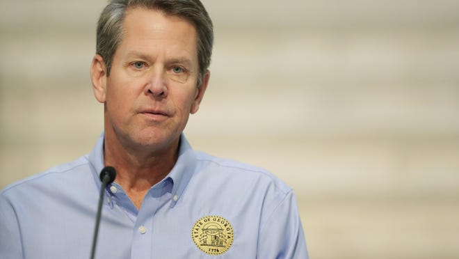 Gov. Brian Kemp speaks during a news conference at the Georgia state Capitol on Wednesday, April 8, 2020, in Atlanta.