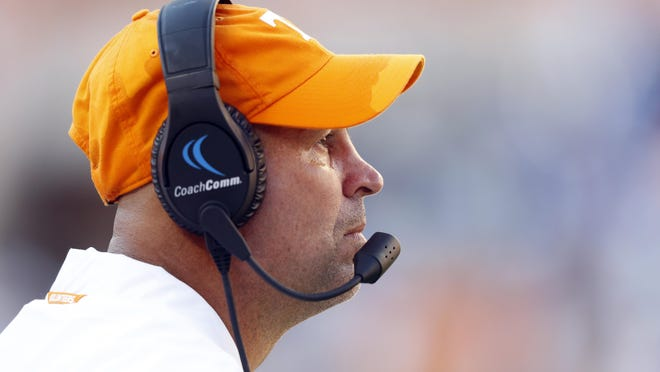 Tennessee head coach Jeremy Pruitt watches from the sideline in the second half of an NCAA college football game against Georgia State, Saturday, Aug. 31, 2019, in Knoxville, Tenn.