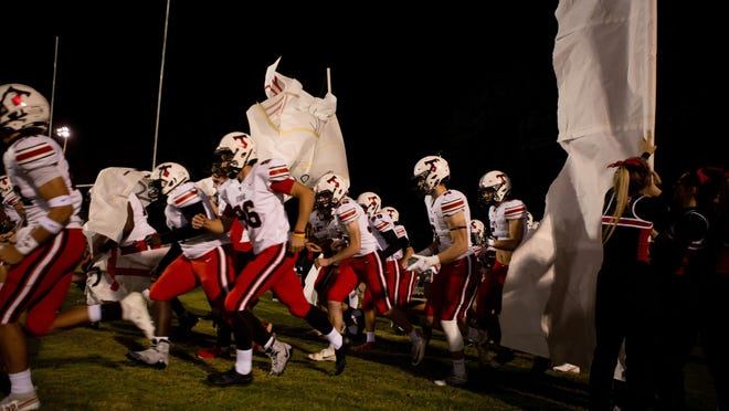 North Oconee takes the field during an GHSA high school football game between North Oconee and Cedar Shoals in Athens, Ga., on Friday, Nov. 6, 2020. North Oconee won the game 31-7.