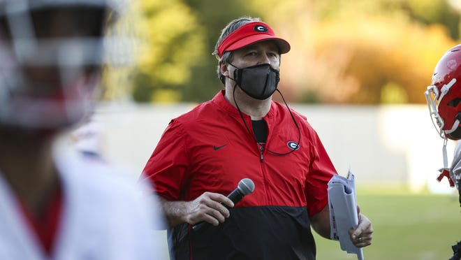 Georgia head coach Kirby Smart during the Bulldogs' practice session in Athens, Ga., on Monday, Nov. 9, 2020.